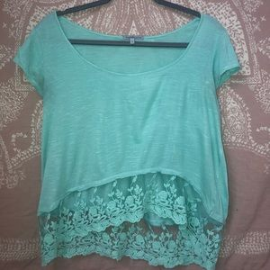 Charolette Russe- Teal crop top with lace bottom